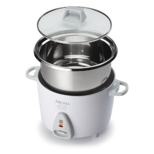 Aroma Simply Stainless 3-Cup(Uncooked) to 6-Cup (Cooked) Rice Cooker, White (Renewed)
