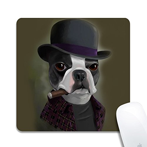 Rinda Customized Square20x20x0.2cm Mouse Pad, Bowler Hat Terrier with Cigar, Non-Slip Rubber Gaming Mousepad, Durable & Comfortable Mouse Mat with Stylish Pattern