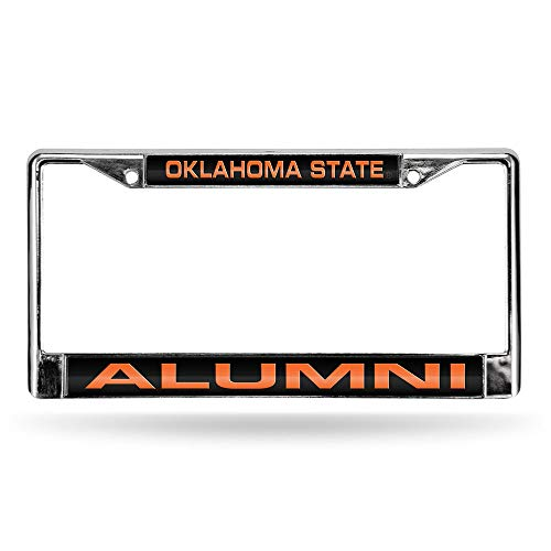 Rico Industries NCAA Oklahoma State Cowboys Laser Cut Inlaid Standard License Plate Frame, Chrome, 6