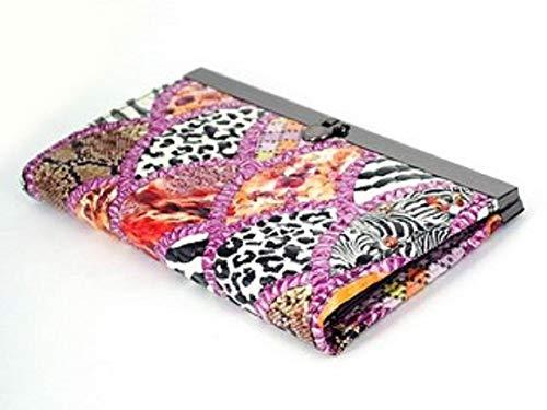 (12 Compartment Faux Leather Women's Clutch Purse With Purple Leopard Skin Design)
