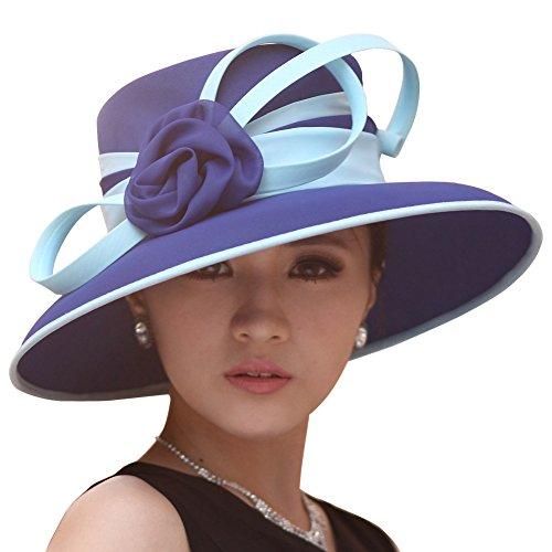 June's Young Hats Women Hats Formal Hats Summer Hat Flower Two Colors (Dark blue /light blue)