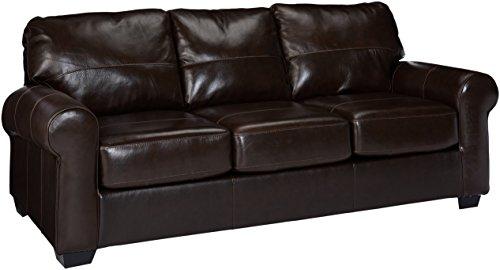 Ashley Furniture Signature Design - Canterelli Contemporary Leather Sofa Sleeper - Queen Size - Chestnut