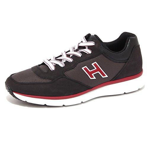 4127Q sneaker uomo HOGAN H FLOCK nero/bordeaux suede black shoe men Nero/Bordeaux