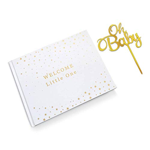 Book Shower - Baby Shower Guest Book, Family & Friends Messages and Wishes Guest Book, Girl or Boy Babies Parent Message Advice Book, Baby Shower Keepsake and Memories, Oh Baby Cake Topper