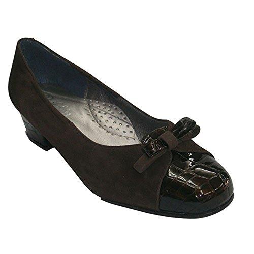 brun de avec brevet Roldan crocodile en foncé les Ballerines talon orteils de combiné daim et cuir n6wU4q