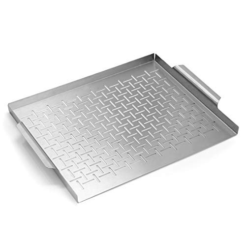 Yukon Glory YG-719 Premium Grill Topper Tray Grilling Pan Stainless Steel Great for BBQ Fish Veggies and More Great Gift for Grillers