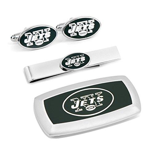 New York Jets Cufflinks (Cufflinks Inc Metal Mens Jewelry Sets New York Jets 3-Piece Cushion Gift Set Silver Model # PD-NYJ-3P2)