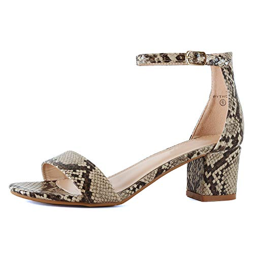 Womens Ankle Strap Single Band Sandal | Low Chunky Block Comfortable Office Heeled Sandals Sandal (7 M US, Python)