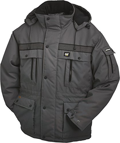 (Caterpillar Men's Big and Tall Heavy Insulated Parka (Regular and Big & Tall Sizes), Graphite, Large)