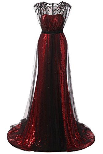 Promstar Women's Elegant Red Sequins Floor Length Formal Prom Evening Dresses