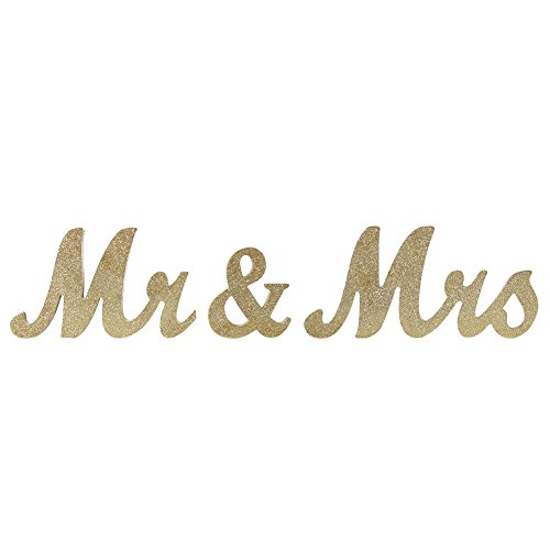 Ocamo Vintage Style Gold Glitter Mr & Mrs Wooden Letters for Wedding Decoration DIY Decoration by Ocamo