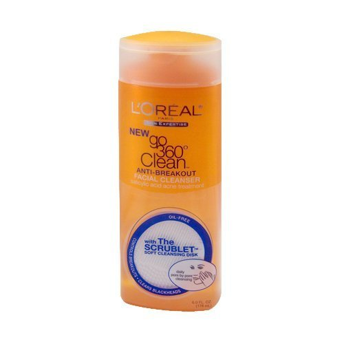 L'Oreal Paris Go 360 Clean, Anti-Breakout Facial Cleanser With Scrublet, 6-Oz (Pack of 3)