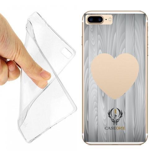 CUSTODIA COVER CASE HEART WOODS PER IPHONE 7 PLUS TRASPARENTE