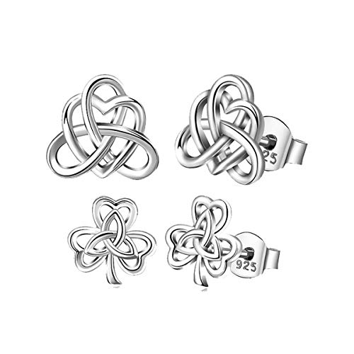 (2 Pairs of Silver Studs Earrings, AEONSLOVE 925 Sterling Silver Irish Celtic Heart Knot Good Luck Clover Stud Earrings, Gifts for Women Girls)