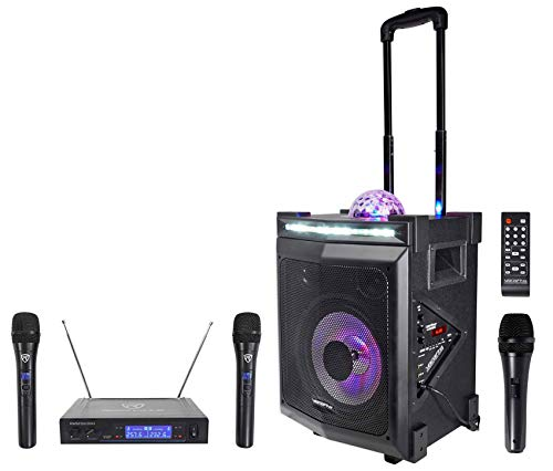 Vocopro LIGHTSHOW-MAGIC Bluetooth Karaoke Machine System+LED's+(2) Wireless Mics