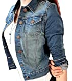 Abetteric Women's Petite Short Sexy Career Fitted Casual Denim Jackets As picture M