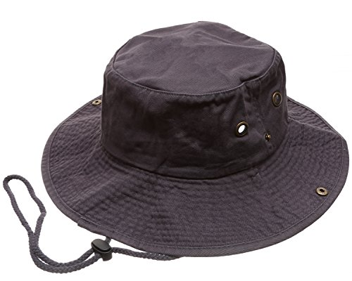 Summer Outdoor Boonie Hunting Fishing Safari Bucket Sun Hat with Adjustable Strap (Charcoal,LXL)