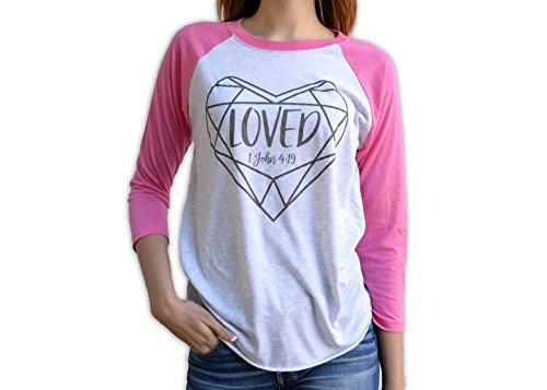 Bourne Southern Loved 1 John 4:19 Women's Graphic Printed Fashion Valentine's Day Raglan T-Shirt (Small, Raglan - Shipping 2-3 Day