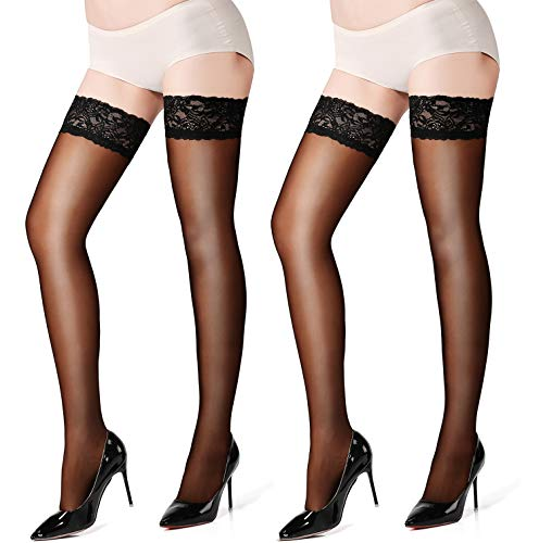 72d95f308d290 MERYLURE 2 Pairs Sheer Lace Thigh High Stockings Silicone Hold Up Nylon  Pantyhose (A/