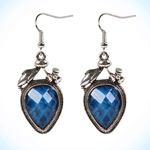 (Cute New Tibetan Silver Deep Denim Lapis Blue Artesian Dangle Drop Earrings for Women Lady)