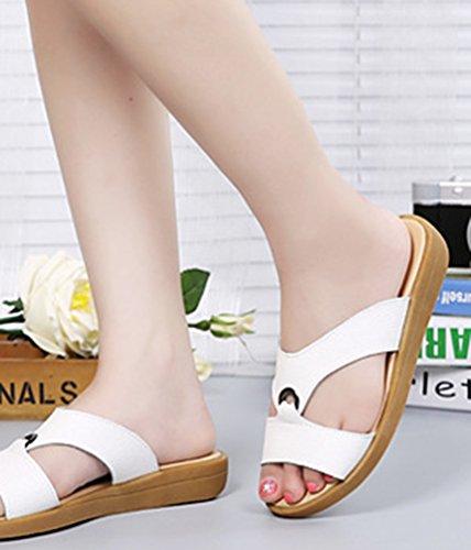 YAANCUN Mujeres Cuero Sandalias Para Zapatos De Las Del Verano De Las Atín Sandalias Planas Blanco