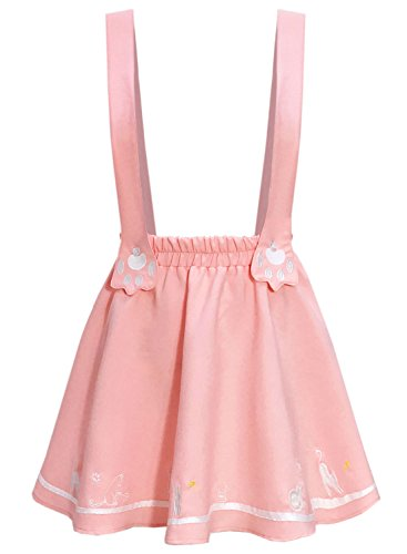 Futurino Women's Sweet Cat Paw Embroidery Pleated Mini Skirt with 2 Suspender (XS/S, Pink)