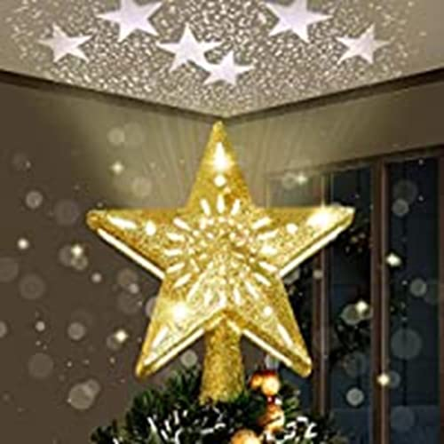 Yostyle Christmas Tree Topper Lighted, Gold Snowflake Tree Decoration with LED Snowflake Projector, 3D Glitter Lighted Gold Snow Tree Topper for Christmas Tree Decorations