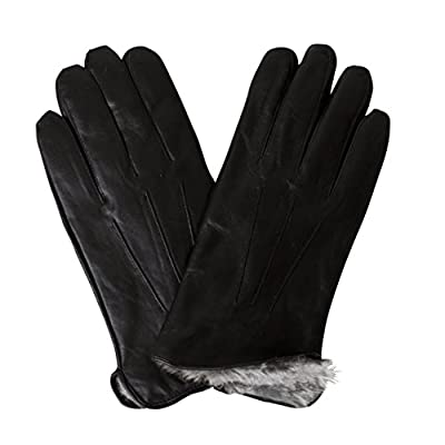 Men's Luxury Rabbit Fur Lined Genuine Butter Soft Black Leather Gloves