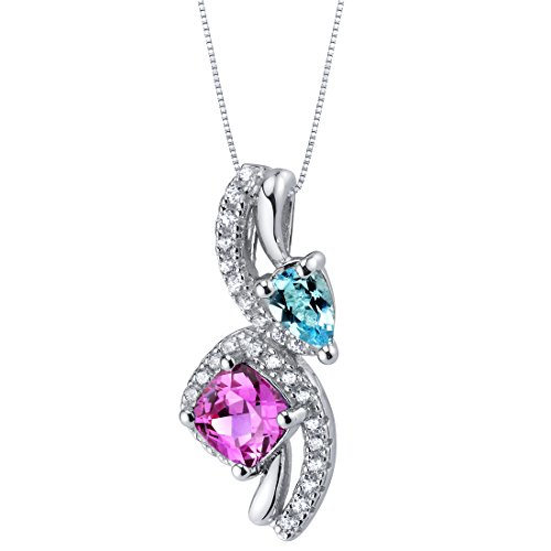 Created Pink Sapphire and Swiss Blue Topaz Ellipse Pendant Necklace