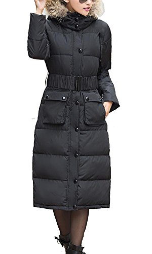 Kufv Women's Long Down Hooded Coat with Faux Fur Trim (L, Black) - Fur Trim Long Hooded Coat