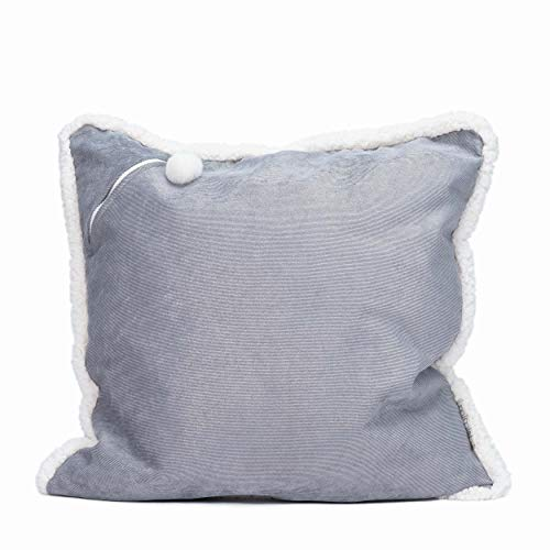 mimish Storage X-Large Floor Pillow - Storage for Books, Remotes, Tablets and More - Corduroy Metallic w/Sherpa Trim, Concrete