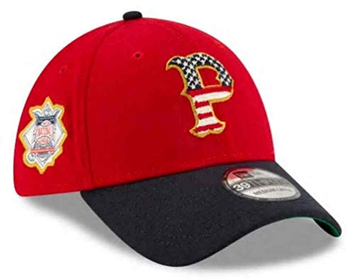 New Era 2019 MLB Pittsburgh Pirates Hat Cap July 4th Flag Logo 39Thirty (S/M) Red/Navy