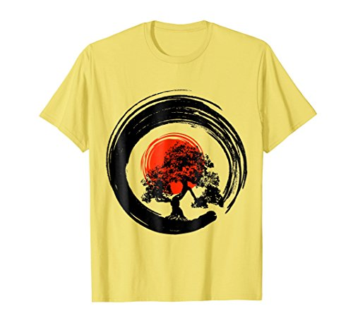 64b0deab60 Mens Bonsai Tree Japanese Calligraphy Rising Sun Zen T-Shirt Large Lemon