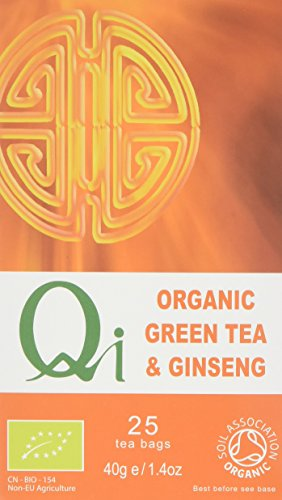 Qi Organic Panax Ginseng Green Tea 25 Teabags (Pack of 6, Total 150...