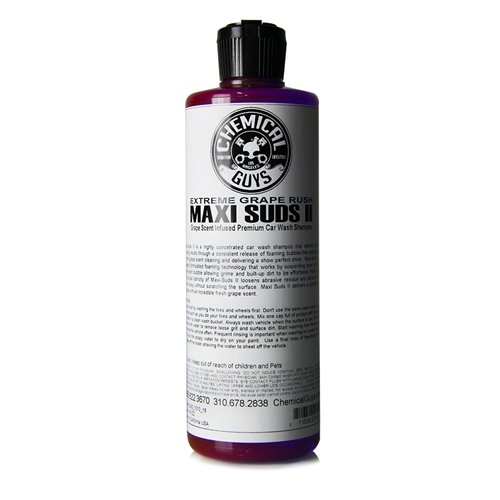 Chemical Guys CWS_1010_16 Maxi-Suds II Super Suds Car Wash Soap and Shampoo, Grape Scent (16 oz)