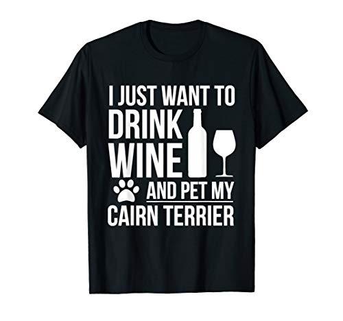 Drink Wine Pet Cairn Terrier T-shirt Dog owner Dog Lovers