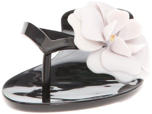 mel Dreamed by melissa Women's Honey III Flip Flop, Black/White, 7 B US