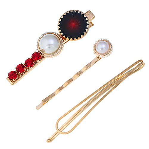 (LiboboKorean Version of The Simple Fashion Bow Love Flower Pearl Hairpin Set (Red) )