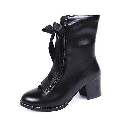NVXIE Women Ankle Boots Martin Shoes Fall Winter Black Leather Rough Heel Round Head Size BLACK-EUR39UK665 YUjsxW2r
