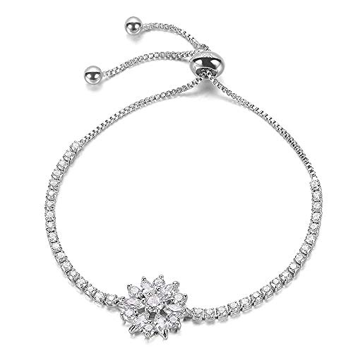 Women Bracelets J.Fée Silver Adjustable Bracelet Snowflake Bracelet Sterling Silver Plated Bracelet White Crystal Bracelet Birthday Mother's Day Gift for Women Friends Gilrs ()