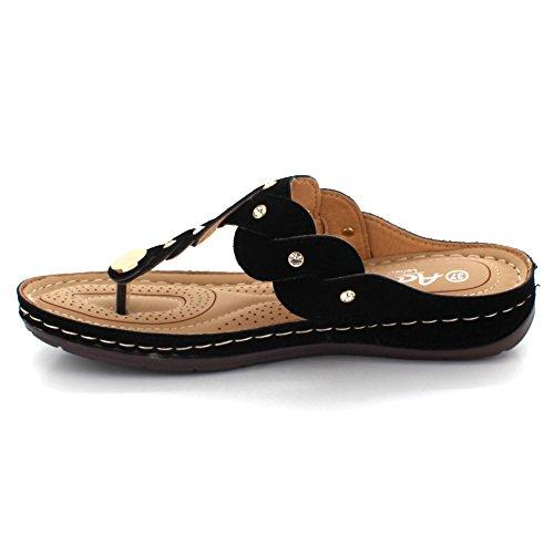 Léger Sur Taille Rembourré Décontracté Moyen Sandales Compensé Talon Plates Orteil Dames Noir Femmes chaussures Glissement Post De Confort 7xFwqvTC