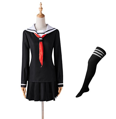 Hell Girl Cosplay Costume (COSFAN Japan School Sailor Cosplay Costume Hell Girl Jigoku Shoujo Ai Enma Uniform Dress with Socks(M) FBA)