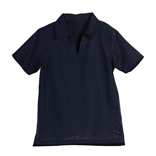Beachcomber Linen - Beachcombers Kid's Navy Blue Linen Cotton V-Neck Collar Short Sleeve Polo Shirt Apparel Extra Large