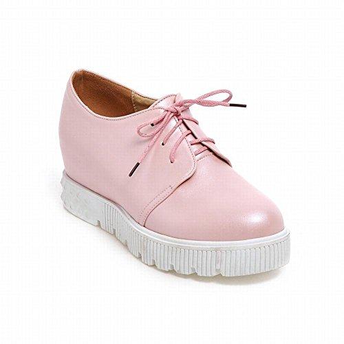 Latasa Dames Lace-up Platform Binnenkant Wedge Oxfords Schoenen Roze