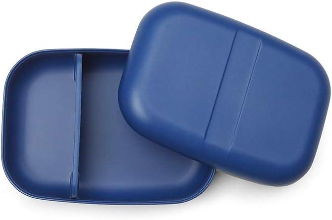 EKOBO Nomad Bento - Fiambrera con separador, 19 x 14 x 6,5 cm, 4 piezas, bambú y resina, color azul
