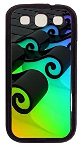 3D Colorful Waves PC Case Cover For Samsung Galaxy S3 SIII I9300 Black