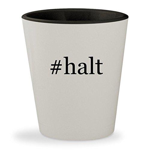#halt - Hashtag White Outer & Black Inner Ceramic 1.5oz Shot Glass Cribbing Spray