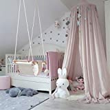 Princess Bed Canopy Mosquito Net for Kids Baby Bed, Round Dome Kids Indoor Outdoor Castle Play Tent Hanging House Decoration Reading Nook Cotton - Regular Size Dusty Rose Pink
