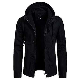 GOVOW Men's Cotton Jacket Men Long Sleeve Full Zip