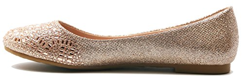 Walstar Women Casual Strass Flat Shoes Chanpagne